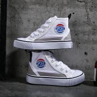 男童帆布鞋白色中高�椭写笸�休�e�和�帆布鞋小�W生鞋