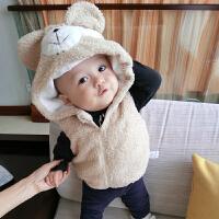 加厚加绒夹棉女婴儿衣服秋装0岁3个月6男宝宝马甲1外套装春秋冬装