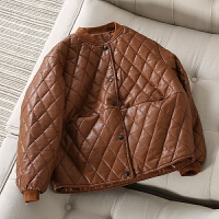 当季新款▲棉衣短款休闲PU2017冬装新款菱形格夹克棒球服外套