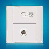 飞利浦墙壁面板插座86型曲面系列Q4 801TV-4TU电话+电视面板插座