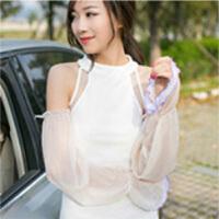 夏季雪纺蕾丝素色防晒袖套手套 简约长款遮阳防紫外线 雪牙(文描已修改)
