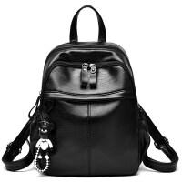双肩包女新款潮韩版时尚百搭女包学院风休闲背包学生书包大包 黑色