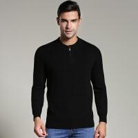 秋冬季17新款时尚新款男士圆领羊绒衫拉链加厚套头羊绒毛衣针织衫