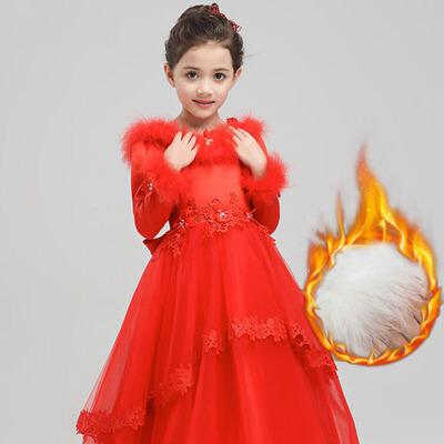 秋冬夹棉厚款演出服花童长袖圣诞节公主长裙 儿童礼服红色女童婚纱 红色长款厚款礼服