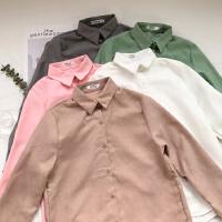 2018秋冬新款韩版打底衬衫上衣女修身甜美学院风POLO领长袖衬衣女