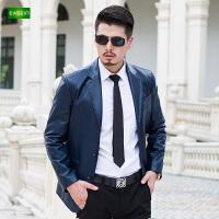 逸纯印品(EASZin)男士皮西服秋 新款男士皮衣帅气时尚年轻休闲皮西服皮外衣套潮