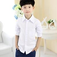 儿童白衬衫长袖白色男孩中大童学生表演出校服