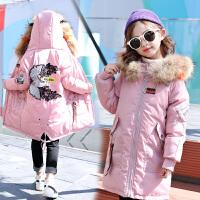 儿童棉衣中长款2018新款冬季中长款蓬松毛领外套女孩