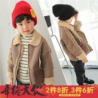 男童羊羔绒外套加绒2017秋冬新款韩版儿童麂皮绒皮毛一体夹克冬装
