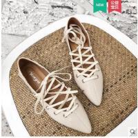 韩版尖头单鞋女平底交叉绑带小香风新款ins两穿百搭仙女鞋潮