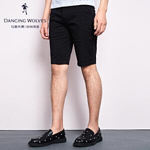 与狼共舞休闲短裤2017夏季新品男装五分裤男款纯色裤子4000