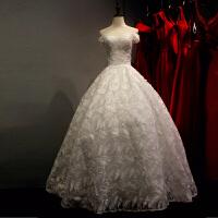 一字肩婚纱新款蕾丝大拖尾婚纱韩版可爱公主新娘结婚齐地婚纱
