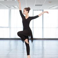舞蹈练功服女新款套装民族古典现代舞形体跳舞服装两件套裤裙 黑色中袖+