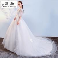 夏妆婚纱礼服新款冬季韩式大码新娘结婚显瘦v领齐地公主梦幻拖尾