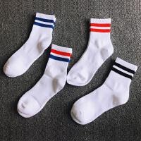 4双装男士袜子男白色束腰中筒袜吸汗透气二条杠条纹运动袜子 均码