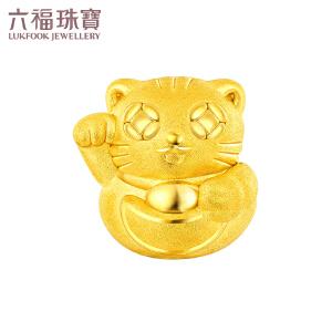 六福珠宝 足金招财进宝招财猫黄金转运珠手绳吊坠 定价 L01A1TBP0017