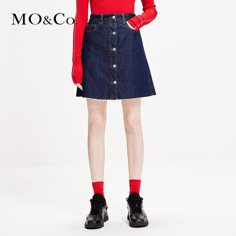MOCO牛仔半身裙春装2019款女装裙子a字高腰短裙MAI1SKT019 摩安珂 满399包邮 洗水剪边 纯棉牛仔
