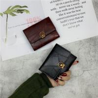 2020新款韩版潮钱包女短款复古港风折叠小钱夹简约搭扣卡包零钱包