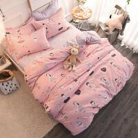 家纺简约秋冬保暖全棉磨毛四件套加厚双人纯棉被套床单1.8床上用品