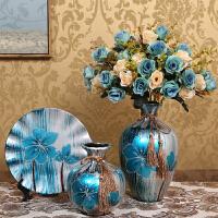 欧式客厅摆件家居装饰品酒柜陶瓷插花花瓶干花工艺品结婚创意礼物