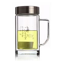 富光320ml办公玻璃水杯227-320/227B-320 双层耐热茶水杯