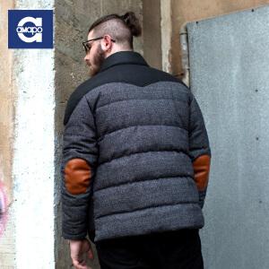 AMAPO潮牌大码男装 肥佬加肥加大撞色拼接冬季保暖外套棉袄棉衣男