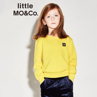 littlemoco男女童小怪兽贴章纯色套头针织衫KA173SWT303 小怪兽贴章 针织套头衫
