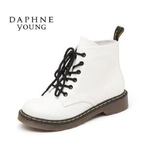 Daphne/达芙妮冬欧美时尚平底女鞋休闲圆头系带马丁靴