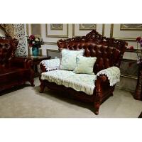 欧式沙发垫四季 色条纹真皮沙发套 布艺全盖 防滑垫子靠背坐巾