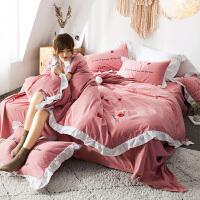 风刺绣磨毛四件套棉 加厚保暖秋冬季棉床单被套床上三件套