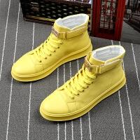 夏季新款高帮男鞋青年韩版潮流运动休闲鞋透气增高厚底鞋黄色板鞋