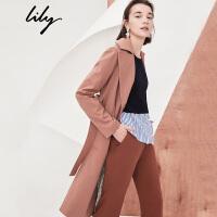 Lily2018秋新款女装OL系腰带帅气长款大翻领呢大衣118110F1603