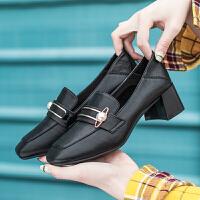 奥古狮登粗跟单鞋女夏季新款女鞋小香风复古英伦风小皮鞋中跟乐福鞋女