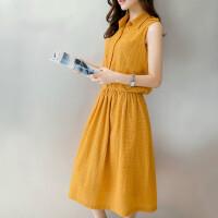 棉麻连衣裙夏中长款2018新款韩版无袖衬衫领黄色裙子镂空文艺森女