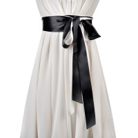 秋冬新品黑白撞色女士两圈腰带 百搭装饰裙带飘带女时尚配带腰封
