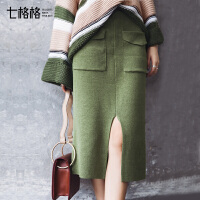针织半身裙2017秋装新款韩版高腰时尚chic气质中长款一步包臀裙女