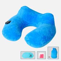 U型枕头按压自动充气护颈枕旅行便携脖枕 办公午睡枕