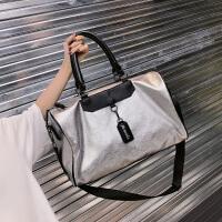 短途旅行包女手提韩版旅游行李袋容量轻便运动男健身包潮旅行袋手提式可折叠行李包 银色