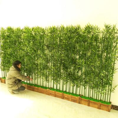 假竹子屏风仿真竹子装饰假竹子隔断屏风加密塑料竹子室内仿真绿植物盆栽装饰