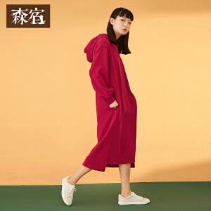 【5折参考价109.8】森宿格子卫衣裙春装2018新款文艺拼接连帽长袖连衣裙女
