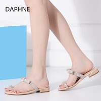 Daphne_达芙妮夏季新品简约女拖鞋水钻平跟凉鞋