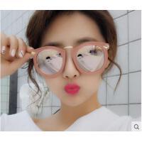 复古黑超墨镜时尚个性新款大框偏光太阳镜 女士圆形粉色太阳眼镜潮