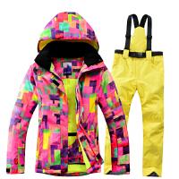 滑雪双板板套防风双板滑雪服登山冬季衣裤保暖加厚单板雪服滑雪连体女童滑雪板