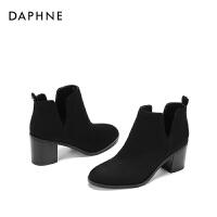 【达芙妮限时2件2折】Daphne/2017冬复古气质短靴 引领潮流开口个性轻便女靴