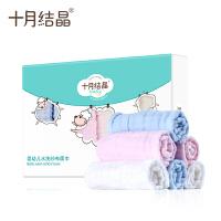 婴儿毛巾初生儿洗脸巾纱布小方巾口水巾手帕6条