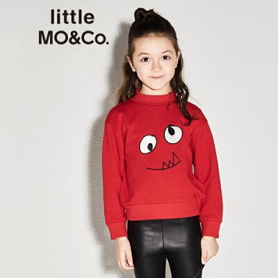 littlemoco男女童小怪兽刺绣图案长袖套头卫衣KA173SWS207 复古小立领 怪兽刺绣图案