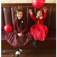 童装冬季新韩版女童加绒连衣裙圣诞裙大红新年裙公主礼服长裙