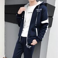 2017秋冬季新款男装韩版潮流男士冬装加绒卫衣一套装休闲运动衣服