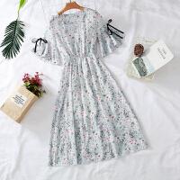 【7色 S-3XL】2018新款大码女装连衣裙V领碎花连衣裙 中长款宽松雪纺裙
