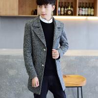 秋季风衣男中长款青年韩版修身冬季帅气毛呢外套男英伦呢子大衣 深灰色 5